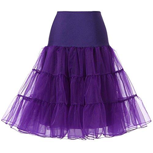 Blidece Women's Plus Size 50s Vintage Tutu Skirt Petticoat Rockabilly Crinoline Underskirt Purple 6XL