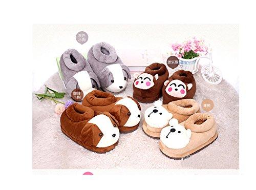 dessinée animaux en bande de chaudes maison douce Chaussures pantoufles animaux neutres Gray chaussures à la peluche maison qvZWctwU