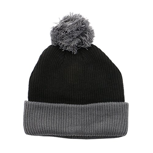 1611MAIN The Two Tone Thick Knitted Winter Cuffed Pom Beanie (Black/Dark Grey)