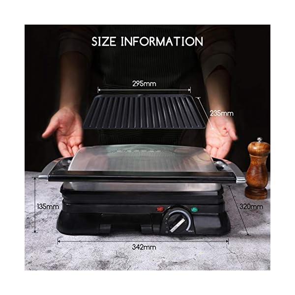 Aigostar Samson - Griglia multifunzione per panini maker da 2000W con 2 piani di cottura 29.5 * 23.5cm. Temperatura… 6
