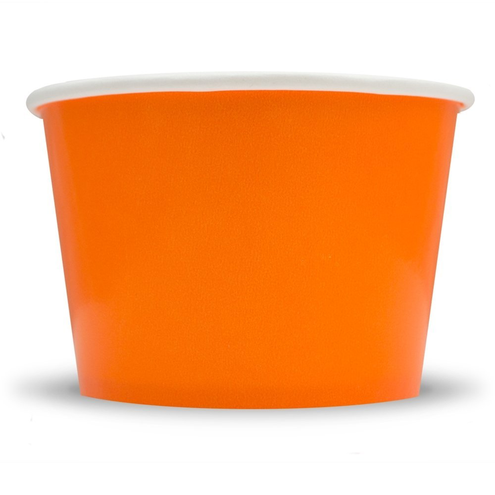 Orange Paper Ice Cream Cups - 8 oz Dessert Bowls Perfect For Frozen Treats And Yummy Desserts - Many Colors & Sizes to Make Your Party Amazing! Fast Shipping! Frozen Dessert Supplies - 50 Count by Frozen Dessert Supplies (Image #1)