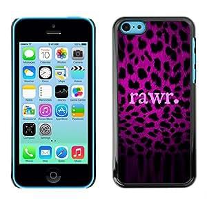 Patrón Leopard texto púrpura Rawr Piel- Metal de aluminio y de plástico duro Caja del teléfono - Negro - iPhone 5C