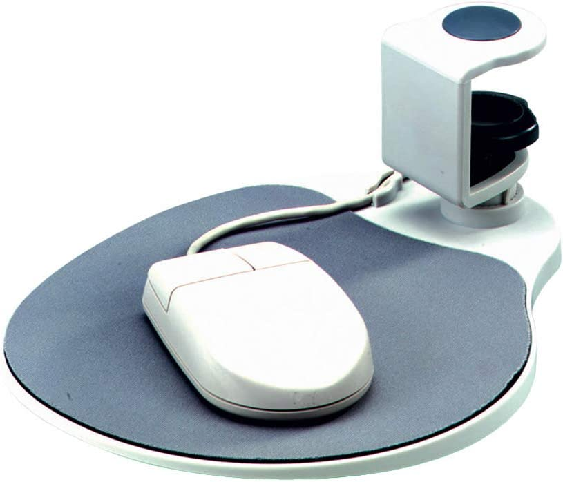"Aidata UM003 Mouse Platform Under Desk, Platinum, Sturdy Metal Clamp Fits Onto Desks up to 40mm/1.57"", Platform Rotates 360 Degrees, Built-in Cable Clip Keeps Mouse in Place"