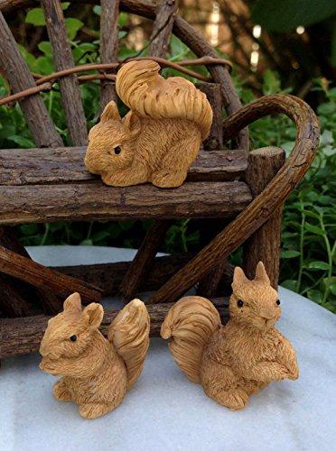 NEW ~ Set of 3 Mini Resin Squirrels Miniature Dollhouse FAIRY GARDEN -