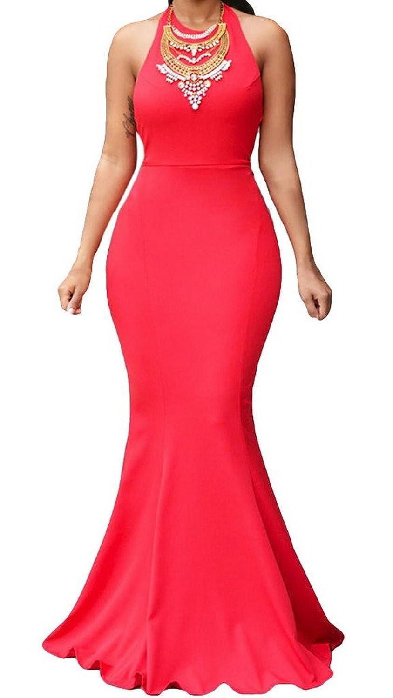 Smile YKK Women Elegant Halter Daring Back Gown V Neck Long Evening Party Dress