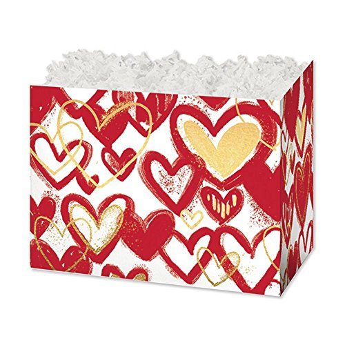 Large Hearts Of Gold Basket Boxes - 10 1/4 x 6 x 7 1/2in. - 84 Pack by NW