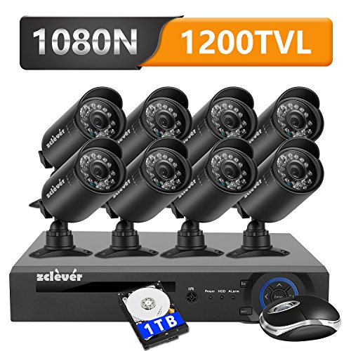 Zclever 8 Outdoor 1080N HD 1200TVL Home Security Camera System with 8 (8 Camera Security System)
