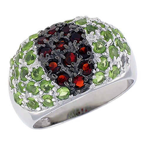 Sterling Silver & Rhodium Plated Dome Ring, w/ 2mm CZ's (12 Ruby, 34 Peridot), 1/2