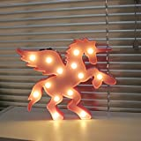 3D Animal Led Night Lights Unicorn With Wing Shaped Marquee Lamp With Usb Night Light For Baby Room Decorative (Pegasus Pink)