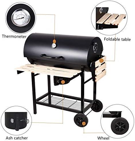 SunJas Barbecue à Charbon Grande Taille BBQ de Bois Barbecue de Jardin avec 2 Tablettes et 2 Roues | 101×70.5×94.5CM