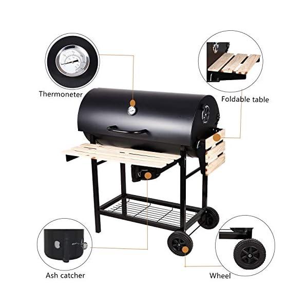 SunJas Barbecue/Griglia a Carbone BBQ Grill Carrello, Palla con Regolazione della Temperatura, Grill 2 Ruote, Nero 3 spesavip