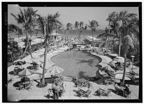 Photo: Raleigh Hotel,Collins Ave.,Miami Beach,Florida. Pool,to ocean from - Miami Ave Collin Beach