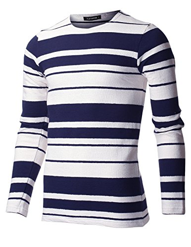 FLATSEVEN Men's Slim Fit Striped Cotton Long Sleeve Crewneck T-shirt (TRL3000) Navy and White, S
