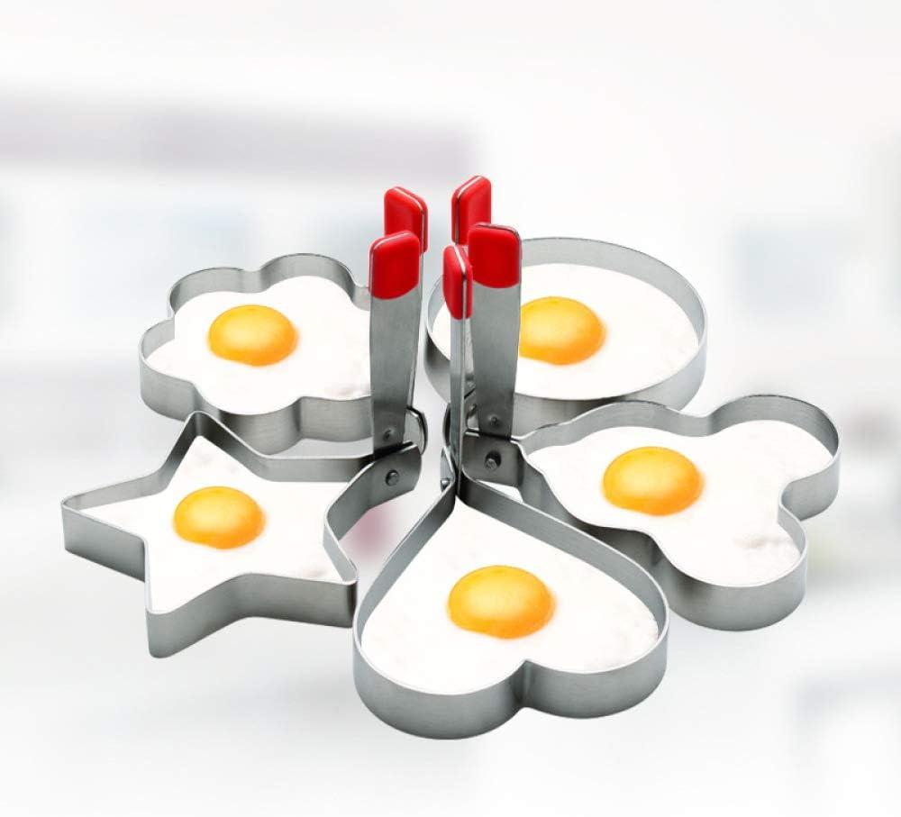 DuoLi Egg Ring 304 Stainless Steel Egg Ring for Frying Eggs with Non-scalding Handle Professional Shaper Omelet Mold Pancake Maker for Shaping Eggs 5 Pack