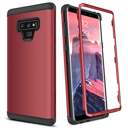 GUAGUA Galaxy Note 9 Case Samsung Galaxy Note 9 Case 3 in 1 Hybrid Hard PC Cover Soft Bumper Anti-Scratch Shockproof Full Body Protective Phone Cases for Samsung Galaxy Note 9(2018),Wine Red/Burgundy