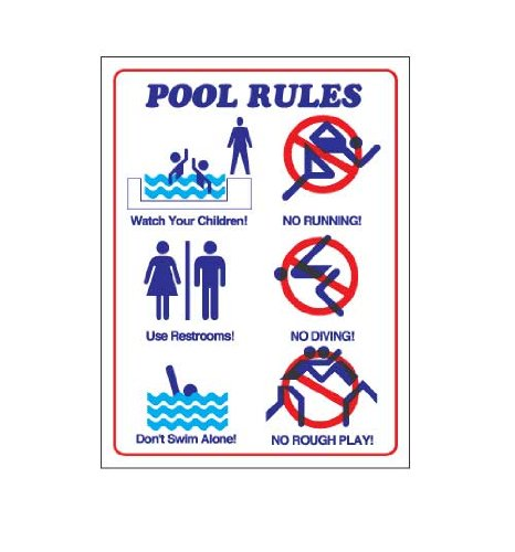 Pool Rules Durable Plastic Sign - With Images