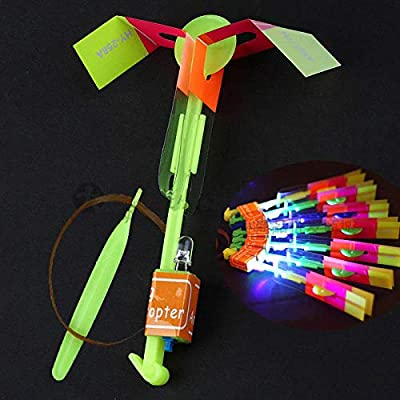 Flashing Panda Set of 12 Firefly Sling-Shot LED Launchable Helicopter Flyers: Toys & Games
