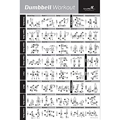 NewMe Fitness Barbell Workout Exercise Poster Laminated Home Gym Weight Lif...