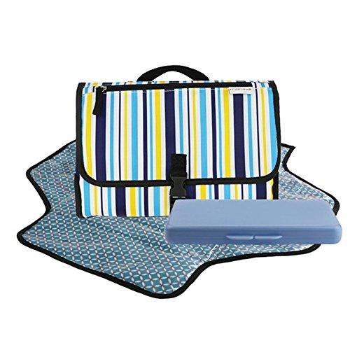 Portátil bebé pañal pañales cambiador con bolsillos de almacenamiento y asa de transporte para niños Grey Stripe Style B