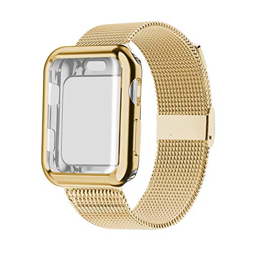 YC YANCH Compatible with Apple Watch Band 44mm with Case, Stainless Steel Mesh Loop Band with Apple Watch Screen Protector Compatible with iWatch Apple Watch Series 1/2/3/4/5 (44mm Gold)