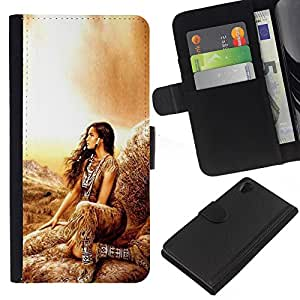 KingStore / Leather Etui en cuir / Sony Xperia Z2 D6502 / Mujer india de la muchacha nativa Outfit Marrón Naturaleza