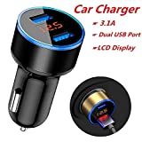 Pollyhb Car Charger, 3.1A Dual USB Car Charger 2 Port LCD Display 12-24V Socket Lighter (Silver)