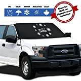 Windshield Cover for Ice and Snow - Fits Most Cars - Trucks - Minivans - SUVs & F150s | Weatherproof & Windproof with Ear Flaps - Adjustable Suction Cups - Strings & Mirror Covers (45X69)