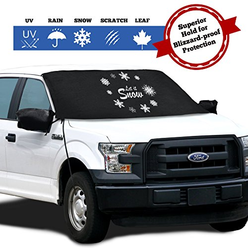 Windshield Cover for Ice and Snow - Fits Most Cars, Trucks, Minivans, SUVs and F150s - Weatherproof and Windproof with Ear Flaps, Adjustable Suction Cups, Strings and Mirror Covers (41X71)