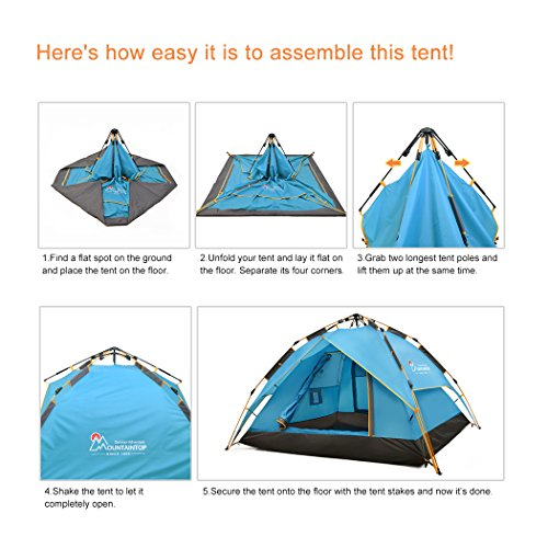 Mountaintop Outdoor 2-3 Person Backpacking Tent/Camping Tent with Carry Bag Automatic 3 Season Tents for Camping Hiking Beach Army Green