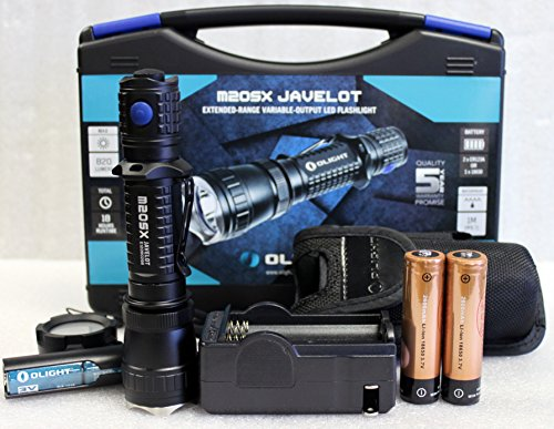 Olight M20SX Javelot 820 Lumesn LED Flashlight Extended Throw Distance Variable Output with Two LegionArms Rechargeable 18650 Batteries and Charger Kit