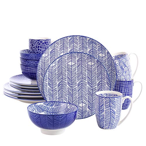 vancasso Dinnerware Sets, 16 Piece Porcelain Dinner Set, Plates and Bowls Set, Japanese Style Dish Set for Kitchen with…