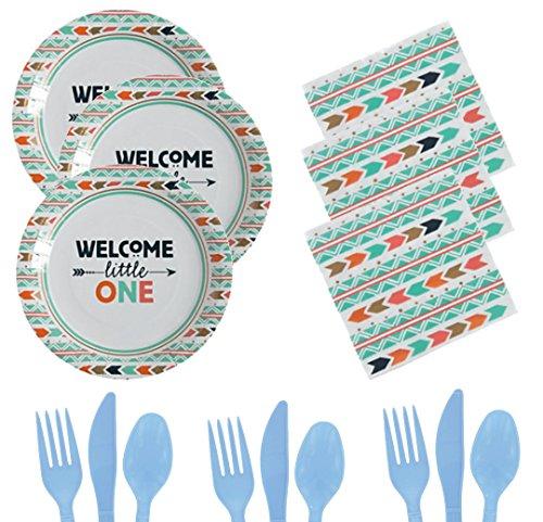 Baby Shower Kit for 16 - Plates, Napkins, Utensils - Babyshower for Girls or Boys Bundle, Party Supplies Kits - Tribal Baby Teal, Blue, Orange, Gold