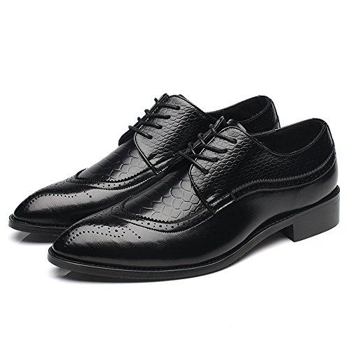 WZG trajes de negocios lazo de los hombres zapatos hombres señalaron Bullock tallada zapatos de cuero zapatos de boda Black