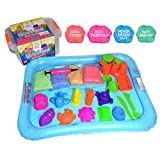 Huge Pack of Magic Sand - 4 Colours 4.4lbs (2kg), Large Playing Tray, 18 pcs Tool, Travel Box, Eco Friendly