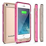 Battery Case for iPhone 6 or iPhone 6s - MobilePal Ultra Slim 3100mAh Charger Case with Tempered Glass Screen Protector - Apple MFi Certified (Gold Case + Pink & Clear Frames)