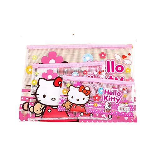 3pcs Hello Kitty 3-Zipper Document File Bag Make-up Bag Organizer Paper Storage -
