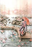 Asian Lady Fish Pond Art Print POSTER GARDEN 13 x 19in
