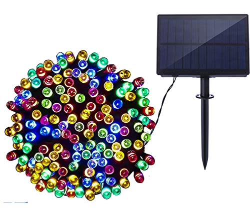 AmaGo Solar String Lights 72ft 22m 200 LED Waterproof Outdoor Lights for Patio,Lawn,Garden,Home,Wedding,Holiday,Christmas Tree Decorations (Multicolor)