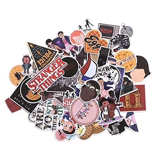 66pcs Stranger Things PVC Waterproof Cartoon Sticker for Scrapbooking Album Skateboard Wall Guitar Stickers