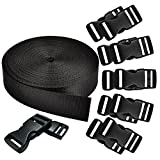 REVEW 1 Inch Wide 10 Yards Black Nylon Heavy Webbing Strap and 12 PCS Flat Side Release Buckles Nylon Webbing Tape For DIY Craft Backpack Strapping (25mm+12)