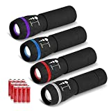 VICOUP 4 Pack Mini Flashlights with 12 AAA Batteries & Colored Band - Zoomable LED Flashlight for Kids, Camping, Hiking, Party