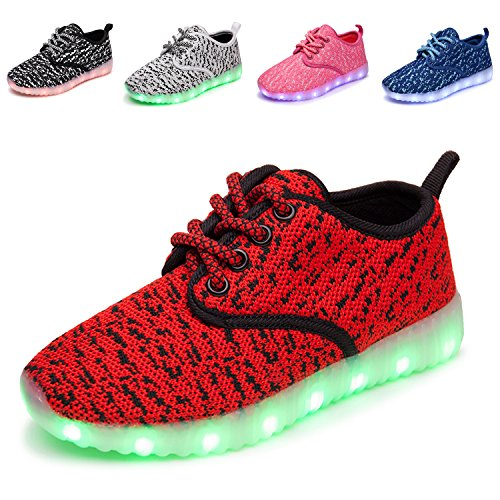 Anluke Kids Unisex Led Light Up Shoes 11 Colori Flashing Usb Come Regalo Per Le Ragazze Dei Ragazzi Rossi
