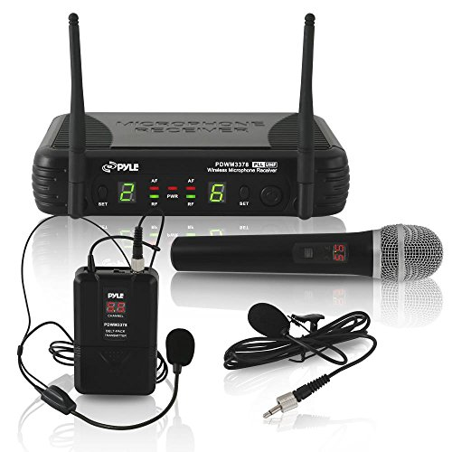 Pyle Dual Channel UHF Wireless Microphone System Handheld MIC, Headset, Belt Pack, Lavelier/Lapel MIC with 8 Selectable Frequency Independent Volume Controls AF & RF Signal Indicators (PDWM3378) ()