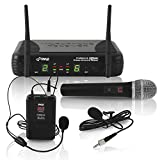 Pyle Dual Channel UHF Wireless Microphone System Handheld MIC, Headset, Belt Pack, Lavelier/Lapel MIC with 8 Selectable Frequency Independent Volume Controls AF and RF Signal Indicators (PDWM3378)