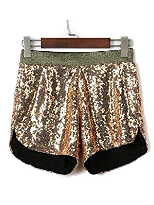 PERSUN Women's All-over Sequin Split Side Shinning Beach Shorts