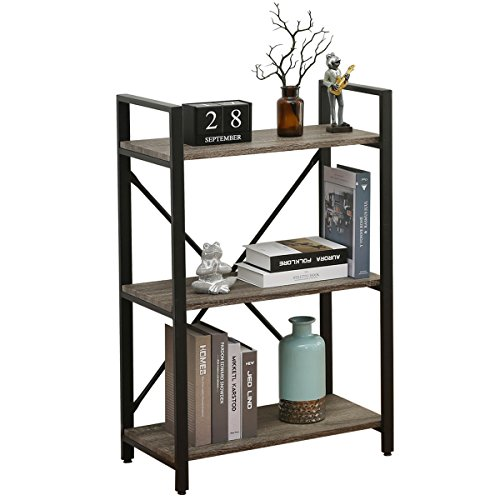 BON AUGURE 3-Shelf Narrow Bookcase, Rustic Storage Display Shelves, Industrial Sturdy Bookshelf, Dark Oak by BON AUGURE