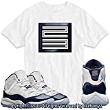 Custom T Shirt Matching AIR Jordan 11 Win Like '82 Navy JD-11-2-4-WHITE-3XL