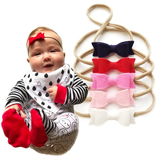 Baby bows and headbands - Newborn to toddler baby girl wool felt bows - SET of 5 (Navy and ()