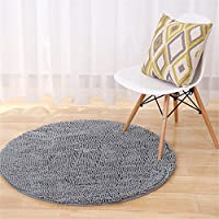 Round Chenille Rug Shag Shaggy Microfiber Doormat Solid Color Non-Slip Area Rug Carpet Floor Mat Soft Bath Mat for Living Room Bedroom Kitchen Home Decoration, Silver-Gray, Dia: 80cm