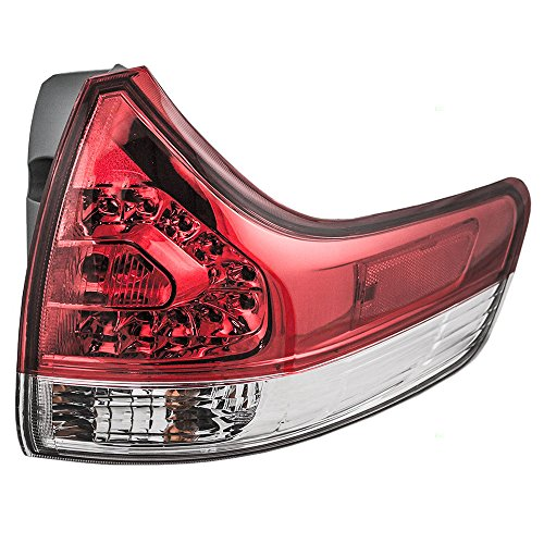 - Taillight Tail Lamp Quarter Panel Mounted Red & Clear Lens Passenger Replacement for 11-14 Toyota Sienna Van 81550-08030